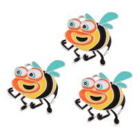 Zinklegierung Tier Anhänger, Biene, Platinfarbe platiniert, Emaille, frei von Blei & Kadmium, 27x28.50x1.50mm, Bohrung:ca. 1.5mm, verkauft von PC