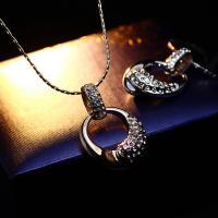 Zinklegierung Schmuck Halskette, mit Verlängerungskettchen von 1.9lnch, plattiert, Kobra-Kette & für Frau & mit Strass & hohl, keine, frei von Nickel, Blei & Kadmium, 24x31mm, verkauft per ca. 15.7 ZollInch Strang