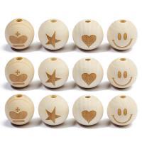 Holzperlen, Holz, rund, verschiedene Muster für Wahl, originale Farbe, 20mm, Bohrung:ca. 4mm, 20PCs/Tasche, verkauft von Tasche