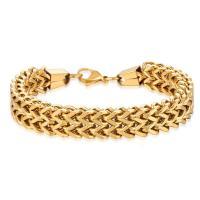 Edelstahl Schmuck Armband, goldfarben plattiert, unterschiedliche Länge der Wahl & unisex & Weizen Kette, verkauft von Strang