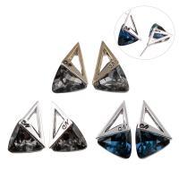 Zinklegierung Ohrstecker, mit Glas, Edelstahl Stecker, Dreieck, plattiert, für Frau, frei von Blei & Kadmium, 14x23x9mm, 6PaarePärchen/Tasche, verkauft von Tasche