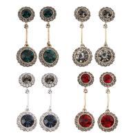 Zinklegierung Tropfen Ohrring, mit Glas, Edelstahl Stecker, rund, plattiert, für Frau & mit Strass, frei von Blei & Kadmium, 14x41x7mm, verkauft von Tasche