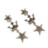 Zinklegierung Ohrringe, Edelstahl Stecker, Stern, plattiert, für Frau & mit Strass, frei von Blei & Kadmium, 14x37x3mm, 6PaarePärchen/Tasche, verkauft von Tasche