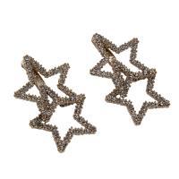 Zinklegierung Ohrringe, Edelstahl Stecker, Stern, plattiert, für Frau & mit Strass, frei von Blei & Kadmium, 21x32x2mm, verkauft von Tasche