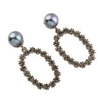 Zinklegierung Tropfen Ohrring, mit ABS-Kunststoff-Perlen, Edelstahl Stecker, Kreisring, plattiert, für Frau & mit Strass, frei von Blei & Kadmium, 22x45x12mm, verkauft von Tasche