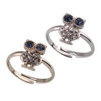Zinklegierung Fingerring , Eule, plattiert, einstellbar & für Frau & mit Strass, keine, frei von Blei & Kadmium, 19x12x4mm, Größe:6.5, 6PCs/Tasche, verkauft von Tasche