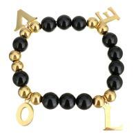 Edelstahl Armband, Buchstabe, Wort Liebe, goldfarben plattiert, Armband  Bettelarmband & für Frau, 10.5x16mm, 11.5x16.5mm, 10mm, verkauft per ca. 8 ZollInch Strang