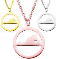 Edelstahl Schmuck Halskette, 304 Edelstahl, mit Verlängerungskettchen von 1.9lnch, plattiert, Oval-Kette & für Frau & hohl, keine, 25x25mm, verkauft per ca. 17.7 ZollInch Strang