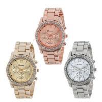 Damen Armbanduhr, Zinklegierung, mit Glas, plattiert, mit Strass, keine, frei von Nickel, Blei & Kadmium, 38mm, 15mm, Länge:ca. 8.6 ZollInch