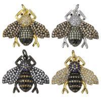 Befestigter Zirkonia Messing Anhänger, Insekt, plattiert, Micro pave Zirkonia & für Frau, keine, 25x21x5mm, Bohrung:ca. 3mm, 5PCs/Menge, verkauft von Menge