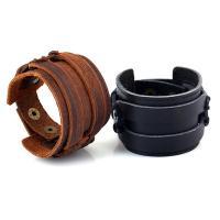Leder Armband, Zinklegierung Druckknopf Verschluss, Messing antik Farbe überzogen, unisex & einstellbar, keine, verkauft per ca. 9.4 ZollInch Strang