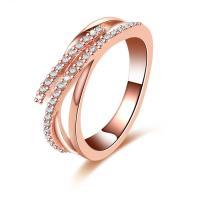Zinklegierung Fingerring , Rósegold-Farbe plattiert, verschiedene Größen vorhanden & für Frau & mit Strass & hohl, frei von Nickel, Blei & Kadmium, 7mm, verkauft von PC