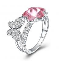 comeon® Finger-Ring, 925 Sterling Silber, mit Österreichischer Kristall, platiniert, verschiedene Größen vorhanden & Micro pave Zirkonia & für Frau, 11mm, verkauft von PC