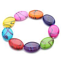 Harz Schmuckperlen, flachoval, gemischte Farben, 24x18x7.5mm, Bohrung:ca. 1mm, 30PCs/Tasche, verkauft von Tasche