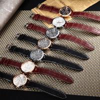 Leder Armbanduhr, mit Glas & Edelstahl & Zinklegierung, plattiert, einstellbar & für den Menschen, keine, 40.5x12mm, Länge:ca. 9 ZollInch, verkauft von PC