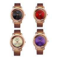 Zinklegierung Armbanduhr, mit Glas & Strass & Edelstahl, Rósegold-Farbe plattiert, einstellbar & für Frau, keine, 39x8mm, Länge:ca. 10 ZollInch, verkauft von PC