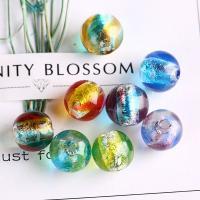 Silberfolie Lampwork Perlen, rund, handgemacht, zweifarbig, keine, 12mm, verkauft von PC