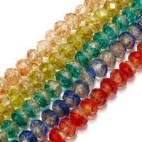 Handgewickelte Perlen, Lampwork, facettierte, keine, 7x10mm, Bohrung:ca. 2mm, ca. 50PCs/Strang, verkauft per ca. 15 ZollInch Strang