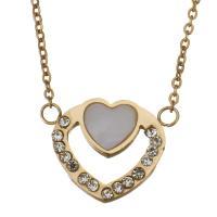 Edelstahl Halskette, mit Weiße Muschel, Herz, Rósegold-Farbe plattiert, Oval-Kette & für Frau & mit Strass, 15x12mm, 1.2mm, verkauft per ca. 15 ZollInch Strang