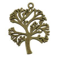 Zink-Aluminium-Anhänger, Zinklegierung, Baum, antike Bronzefarbe plattiert, frei von Nickel, Blei & Kadmium, 25x33x1.50mm, Bohrung:ca. 2mm, ca. 200PCs/Tasche, verkauft von Tasche