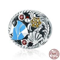 Thailand European Perlen, flache Runde, ohne troll & Emaille & mit kubischem Zirkonia & hohl, 12x12mm, Bohrung:ca. 4.5-5mm, verkauft von PC