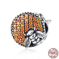 Thailand European Perlen, flache Runde, ohne troll & mit kubischem Zirkonia, 11x11mm, Bohrung:ca. 4.5-5mm, verkauft von PC