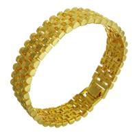 Messing-Armbänder, Messing, 24 K vergoldet, unisex, 15mm, verkauft per ca. 8 ZollInch Strang
