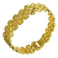 Messing-Armbänder, Messing, 24 K vergoldet, unisex, 16mm, verkauft per ca. 8 ZollInch Strang