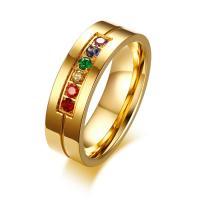 Rhinestone-Edelstahl -Finger-Ring, Edelstahl, goldfarben plattiert, verschiedene Größen vorhanden & für Frau & mit Strass, 6mm, verkauft von PC