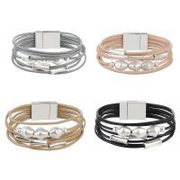 PU Leder Armband, mit Kunststoff Perlen & Zinklegierung, silberfarben plattiert, für Frau & mit kubischem Zirkonia & Multi-Strang, keine, 16mm, verkauft per ca. 8 ZollInch Strang