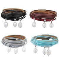 Kuhhaut Armband, mit Kunststoff Perlen & Zinklegierung, silberfarben plattiert, Armband  Bettelarmband & für Frau & Multi-Strang, keine, 15mm, verkauft per ca. 15 ZollInch Strang