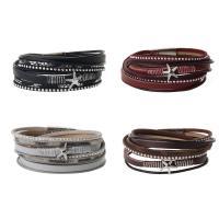 PU Leder Armband, mit Glas & Zinklegierung, silberfarben plattiert, für Frau & facettierte & Multi-Strang, keine, 16mm, verkauft per ca. 16 ZollInch Strang