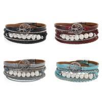 Kuhhaut Armband, mit Kunststoff Perlen & Zinklegierung, silberfarben plattiert, für Frau & mit Strass & Multi-Strang, keine, 16mm, verkauft per ca. 15 ZollInch Strang