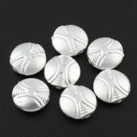 Zink Legierung Perlen Schmuck, Zinklegierung, flache Runde, silberfarben plattiert, frei von Blei & Kadmium, 10x4mm, Bohrung:ca. 0.8mm, 10PCs/Tasche, verkauft von Tasche