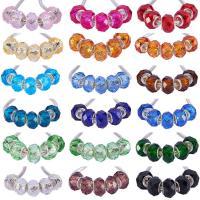 Kristall European Perlen, mit Kunststoff Kasten, Rondell, Messing-Dual-Core ohne troll & facettierte, gemischte Farben, 8x14mm, Bohrung:ca. 5mm, 144PCs/Box, verkauft von Box