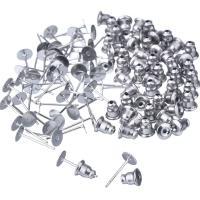 Edelstahl Ohrring Stecker, originale Farbe, 5x12mm, 5x6mm, 100PCs/Menge, verkauft von Menge