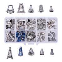 Zinklegierung Perlkappen, mit Kunststoff Kasten, antik silberfarben plattiert, gemischt, frei von Blei & Kadmium, Bohrung:ca. 1-3mm, 60PCs/Box, verkauft von Box