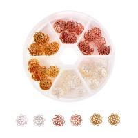 Messing Perlenkappe, mit Kunststoff Kasten, plattiert, gemischte Farben, frei von Nickel, Blei & Kadmium, 10x3mm, Bohrung:ca. 1mm, 90PCs/Box, verkauft von Box
