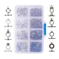 Zinklegierung Knebelverschluss, mit Kunststoff Kasten, plattiert, gemischt, frei von Blei & Kadmium, Bohrung:ca. 1-1.5mm, 80SetsSatz/Box, verkauft von Box
