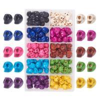 Türkis Perlen, Synthetische Türkis, mit Kunststoff Kasten, Schädel, gemischte Farben, 10x12mm, Bohrung:ca. 1mm, 150PCs/Box, verkauft von Box