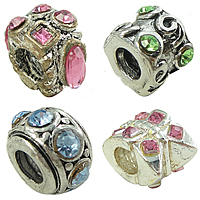 Rhinestone Brass European Beads